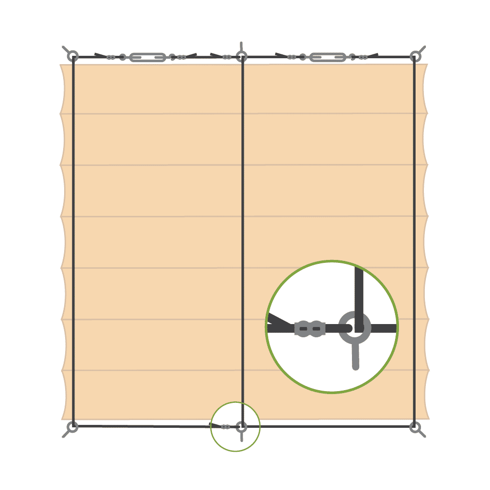 Schéma zavěšení baldachýnu - varianta B